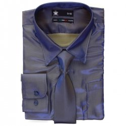 Boys Azure Blue Shirt With Tie In Silky Sheen Fabric