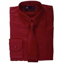 Boys Maroon Shirt With Tie In Sheen Fabric