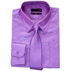 Boys Violet Shirt In Sheen Fabric