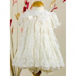Little Darlings Girls Flower Lace Christening Dress With Bloomers