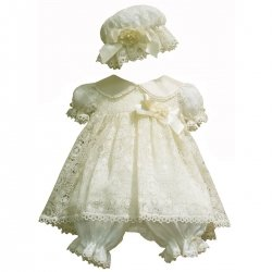 Little Darlings Ivory Christening Dress With Bloomers And Hat