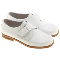 Junior Boys White Shoes Hand Made Leather