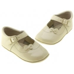 Baby Girls Ivory Patent Pram Shoes
