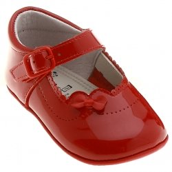 Baby Girls Red Pram Shoes In Patent Leather