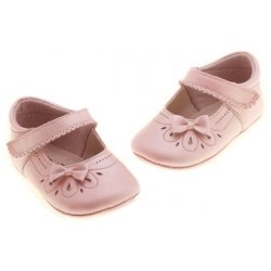 Hand Made Baby Girls Pink Pram Shoes With Bow And Flowers