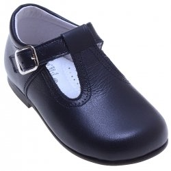 Baby And Toddler Navy Leather T Bar Shoes