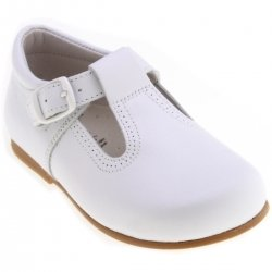 Baby White Leather T Bar Shoes