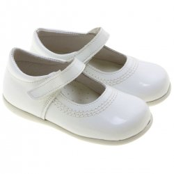 Spanish Girls White Leather Shoes For First Walker