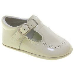 Baby Boy Ivory Patent T Bar Pram Shoes Scallop Edge
