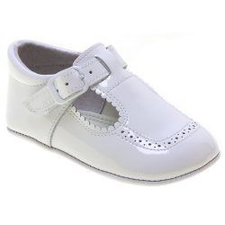 Baby Boy White Patent T Bar Pram Shoes Scallop Edge