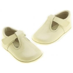 100% leather Hand made T bar design baby ivory pram shoes