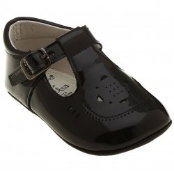 Spanish T bar baby black patent boys pram shoes