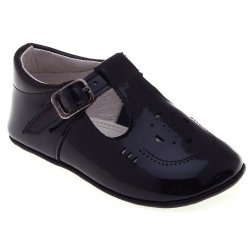 T bar design baby boys navy patent pram shoes