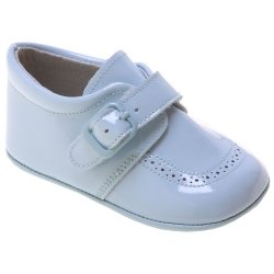 Blue Patent Baby Boy Pram Shoes Velcro Buckle