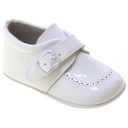 Baby Boy White Patent Pram Shoes Velcro Buckle