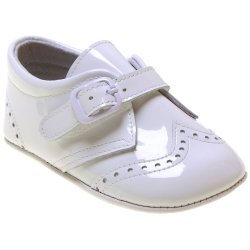 Baby Boy Patent Brogue Style White Pram Shoes