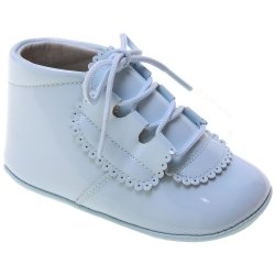 Baby Boy Blue Patent Pram Shoes In Leather With Scallop Pattern