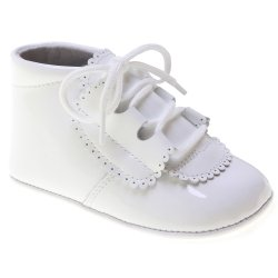 Lace Up Baby Boys White Patent Pram Shoes Spanish Made 100% Leather