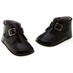 Hand made baby boys black patent pram shoes 100% leather