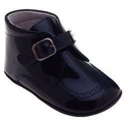 Baby Boys Navy Patent Leather Pram Shoes