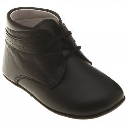 Baby Boys Black Pram Shoes In Matt Leather