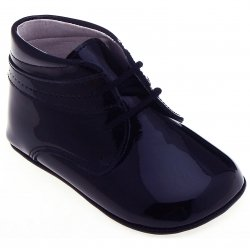Baby Boys Navy Patent Pram Shoes In 100% Leather