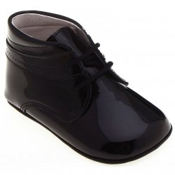 Baby Boys Black Patent Pram Shoes 100% Leather