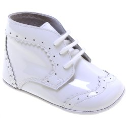 Baby Boys White Patent Leather Pram Shoes Lace Up Stunning Look
