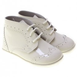 Lace Up Baby Boys Ivory Patent Leather Pram Shoes