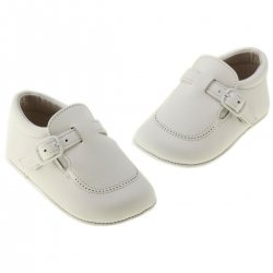 Baby boys white leather pram shoes in 100% leather