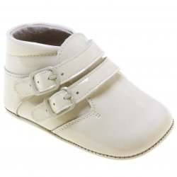 Baby Boys Ivory Pram Shoes Patent Vecro Fastening