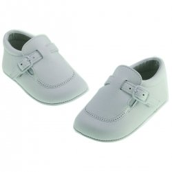 Baby Boys Pale Blue Leather Pram Shoes