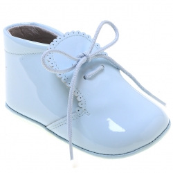 Beautiful Baby Boys Baby Blue Patent Shoes Scallop Edge
