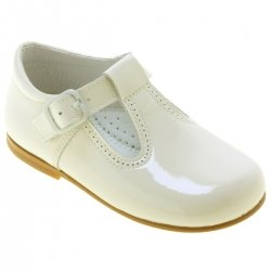 Spanish Made Children Ivory Patent Leather T Bar Shoes