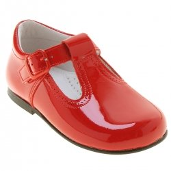 Children Red Patent Leather T Bar Shoes