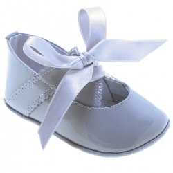 Baby Girls Light Grey Patent Ribbon Shoes
