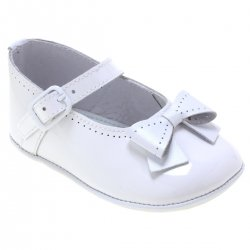 Baby Girls Patent White Pram Shoes With Bows