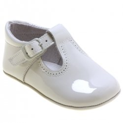 Baby Ivory T Bar Patent Shoes With Buckles