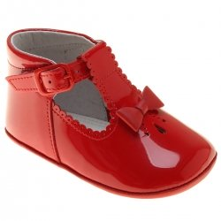 Baby Girls Red Patent T Bar Pram Shoes Bow Decoration