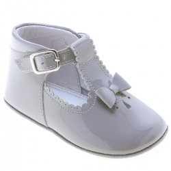 Baby Girls Light Grey Patent T Bar Shoes With Bow