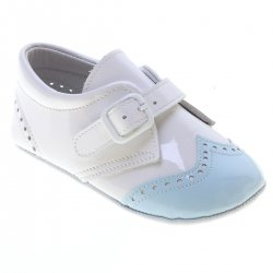 Baby Boy White Blue Patent Brogue Pram Shoes