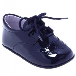 Baby Boys Navy Patent Shoes Brogue Styled
