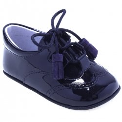 Baby Boys Navy Patent Shoes With Tassels