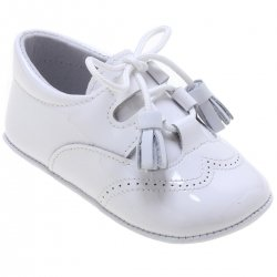 6e4b3e70202 Baby Boys White Patent Shoes With Tassels