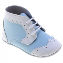 Distinctive Baby Boys Blue Patent White Trim Booties