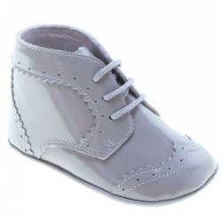 Baby Boys Light Grey Boots In Patent Leather