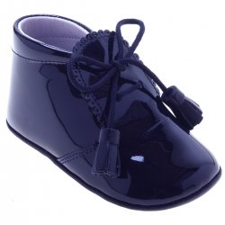 Baby Boys Navy Patent Pram Shoes With Tassels