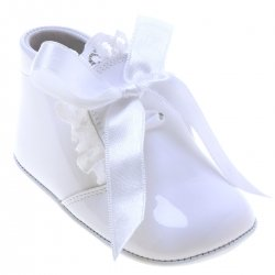 Baby Girls White Pram Boots With Frilly And Ribbon Lace