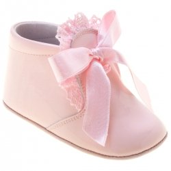 Baby Girls Pink Pram Boots With Frilly Trim And Ribbon Lace