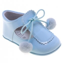 Baby Boys Blue Pom Pom Patent Shoes